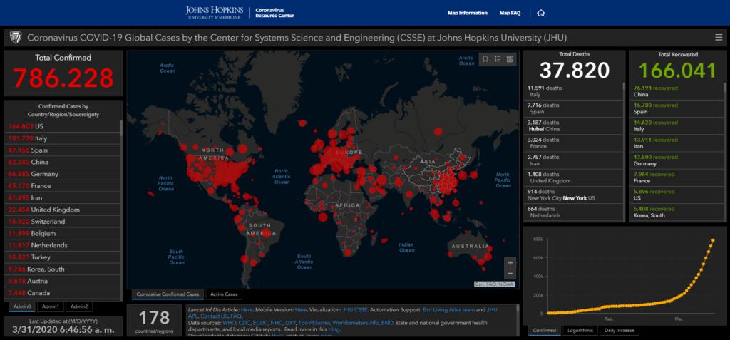 Mapa de casos del Coronavirus de la Universidad John Hopkins