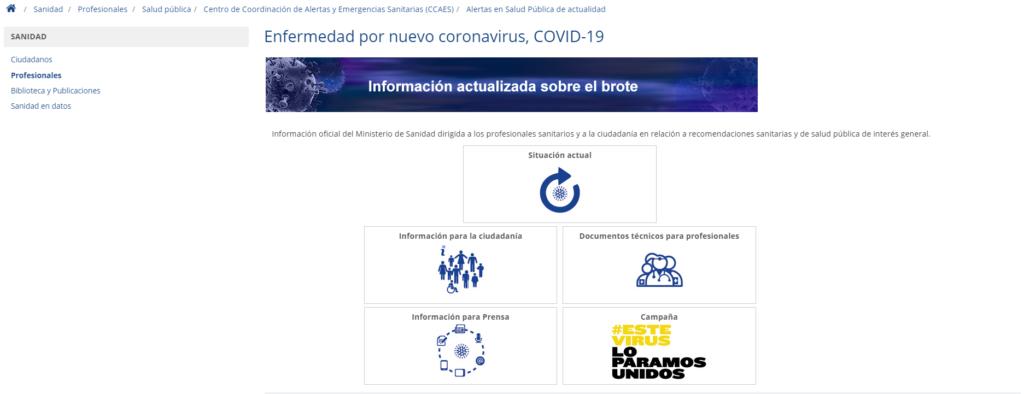 Web del Ministerio de Sanidad