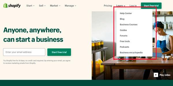 Shopify contenidos para aprender