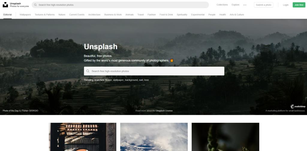 La barra de temas de Unsplash nos será muy útil