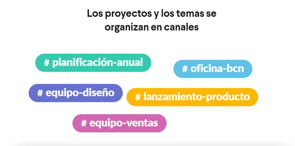 Etiquetas de proyectos Slack