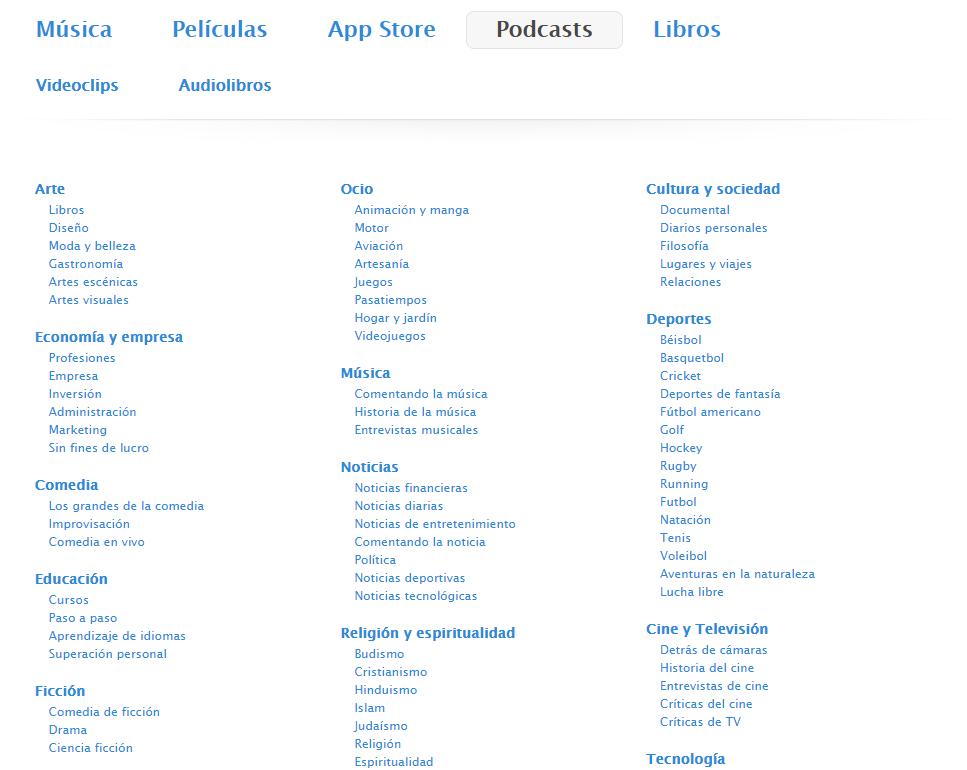 Categorías podcasts iTunes